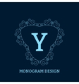 the linear blue monogram vector image vector image