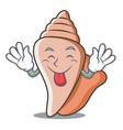tongue out cute shell character cartoon vector image