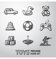 Toys hand drawn icons set with - car duck bear vector image vector image