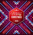 typographic red hexagonal merry christmas and vector image vector image