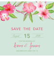 Wedding Invitation Card - with Tropical Flowers vector image vector image