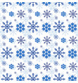winter pattern with blue snowflakes in flat vector image vector image