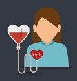woman patient with cardiology icon vector image vector image