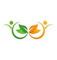 beauty people spa organic leaf logo vector image