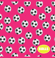 football ball seamless pattern on pink background vector image