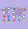 a set of icons on colored buttons part five vector image vector image