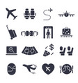 airport icon set airport management icons aerial vector image