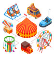 amusement park and circus isometric concept vector image