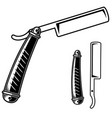 barber razor in engraving style design element vector image