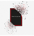 black banner with the fragments of the explosion vector image vector image