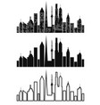 black cityscape icons set vector image vector image