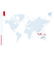 blue world map with magnifying on indonesia vector image vector image