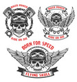 born for speed set of biker skulls in helmets vector image vector image