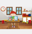 boy and two jars with marbles in classroom vector image vector image