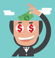 businessman keeps banknotes in bald head vector image