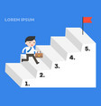 businessman running up step stair to reach vector image