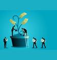 businessmen nurturing money tree vector image