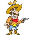Cartoon cowboy holding a pistol vector image vector image
