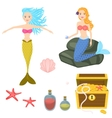 Cartoon mermaids and treasure dower chest clip art vector image vector image