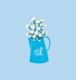 chamomile daisies bouquet in milk jug aesthetic vector image