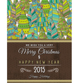 christmas background with forest of christmas tree vector image vector image