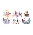 collection of family outdoor recreational vector image