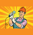 construction worker with light bulb vector image vector image