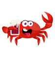 crab with beer on white background vector image