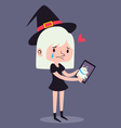Cute Witch Holding Photography vector image vector image