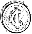 doodle currency coin cent vector image vector image