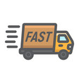 fast shipping filled outline icon delivery truck vector image