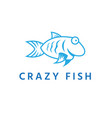fun crazy fish design template vector image