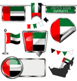 Glossy icons with United Arab Emirati flag vector image
