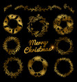 gold christmas hand drawn wreaths border frames vector image