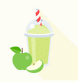 green apple smoothie vector image vector image