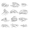 Hand drawn ocean waves set sea storm wave
