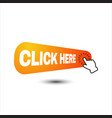 hand pointer clicking click here button round vector image vector image