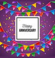 happy anniversary greeting card with bunting vector image vector image
