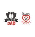 happy fathers day logo design set super dad black vector image vector image