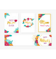 happy mother day spring flower art card set vector image vector image