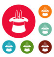 hat with a rabbit ear icons circle set vector image vector image