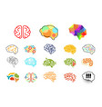 human brains in various styles mind icons set vector image vector image