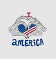 i love america flag vector image vector image