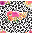 leopard print and flower embroidery fashion patch vector image vector image