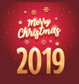 merry christmas 2019 text with elegant vector image vector image