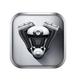 Metal icon with engine vector image vector image