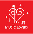 musical clefs design forming a heart shape vector image vector image