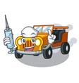 nurse jeep car in shape mascot vector image vector image