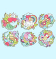 patch badges with heart cat butterfly rainbow vector image