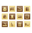 print industry icons over brown background vector image